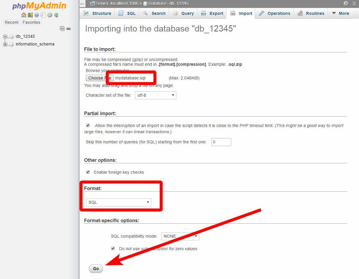 MySQL DB - Import database