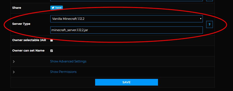 Select Minecraft server type on Shockbyte.