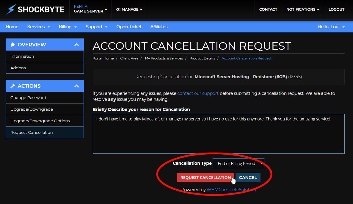 Cancel a Minecraft server