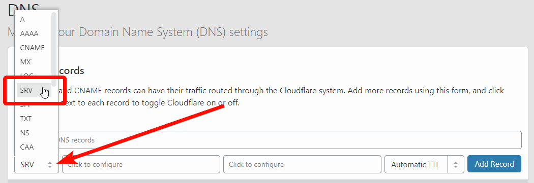 Cloudflare - SRV Record