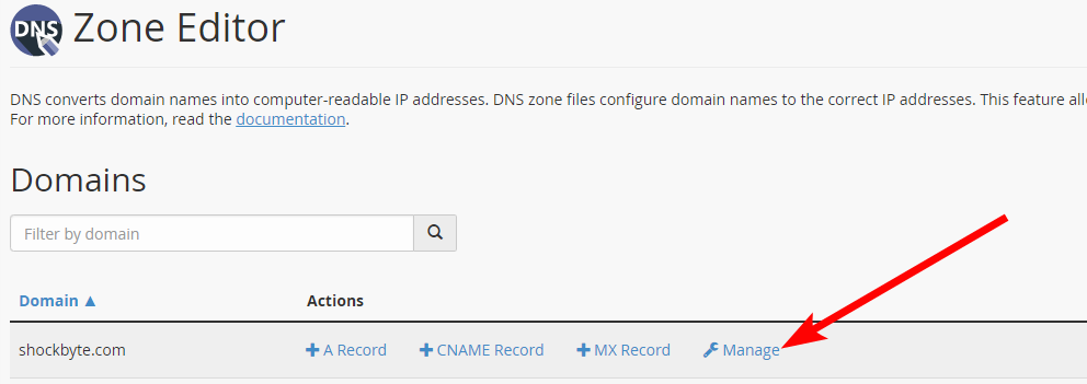 cPanel - manage domain