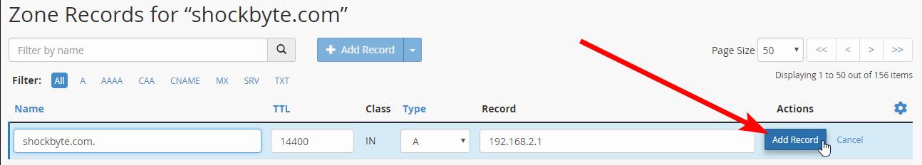cPanel - domain A record