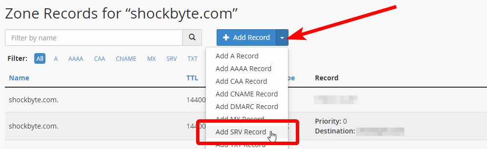 cPanel - SRV Record