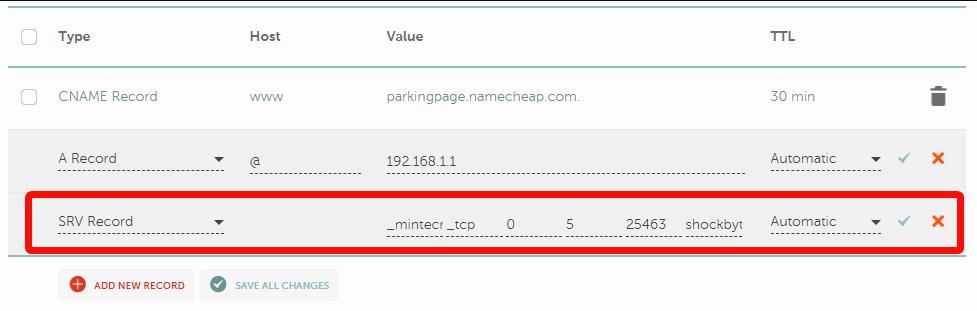 Namecheap - domain SRV entries