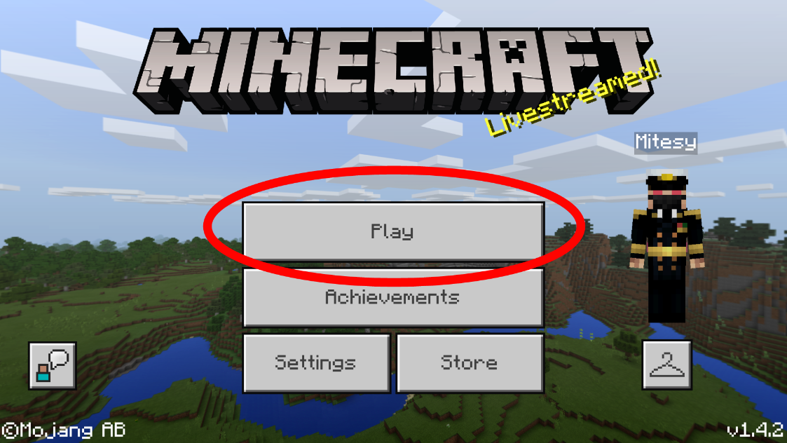 Join MCPE Server - Play button