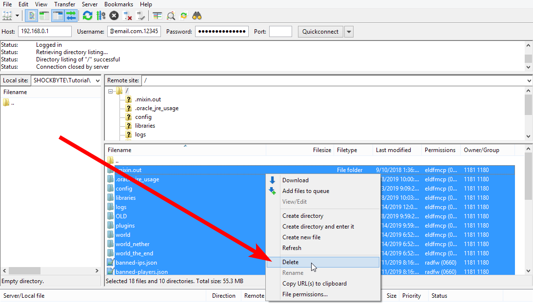 Reset Server - Delete via FileZilla