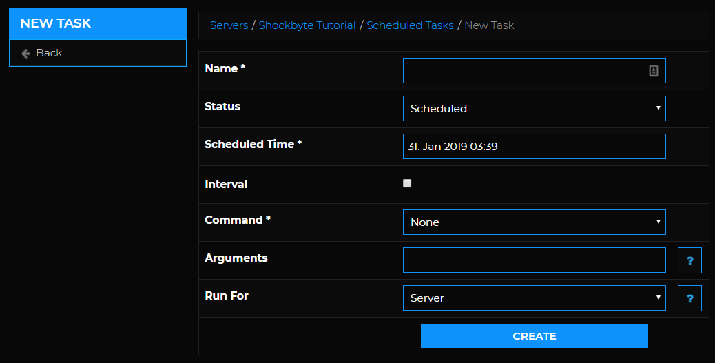 Scheduled task - create new task