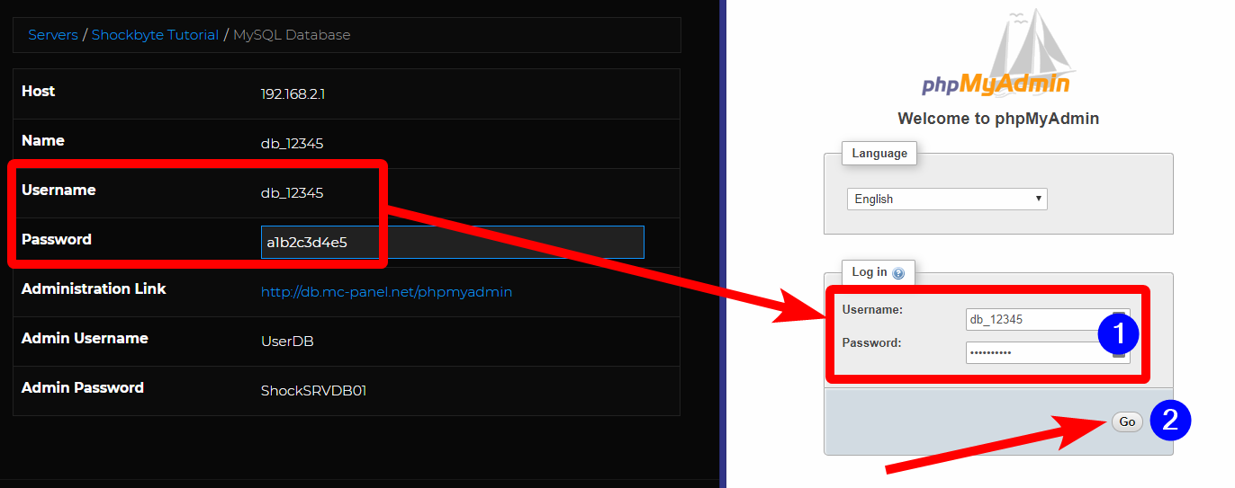 MySQL db - Log into phpMyAdmin