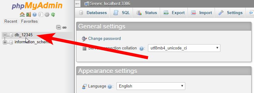 MySQL DB - Select the database
