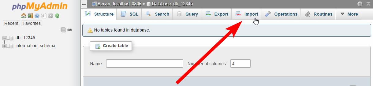 MySQL Database - Import