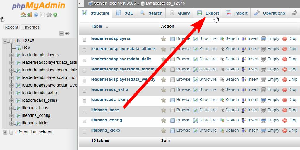 MySQL DB - Navigate to Export page