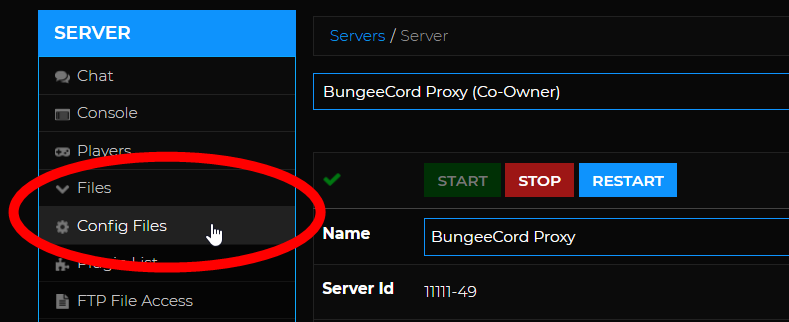 BungeeCord Setup - Config files