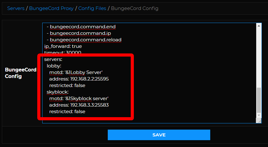 BungeeCord Setup - Add servers to bungee config