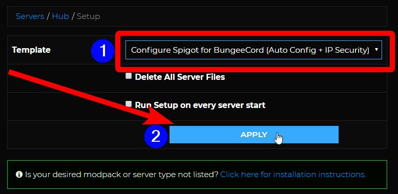 BungeeCord Setup - Select autosetup template