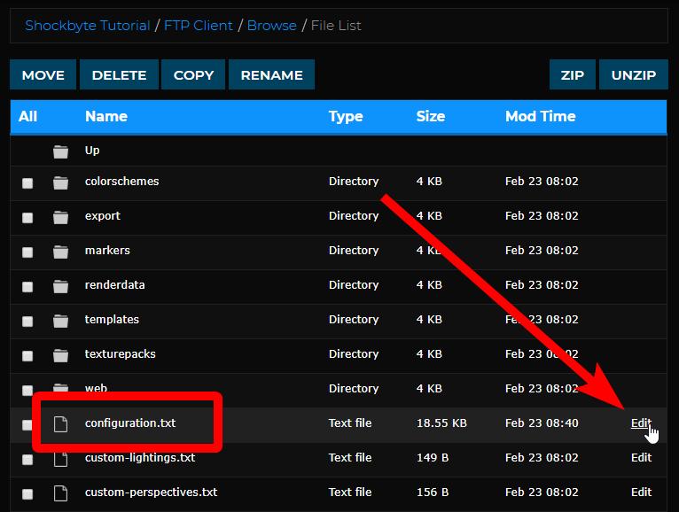 Setup Dynmap - Edit configuration file