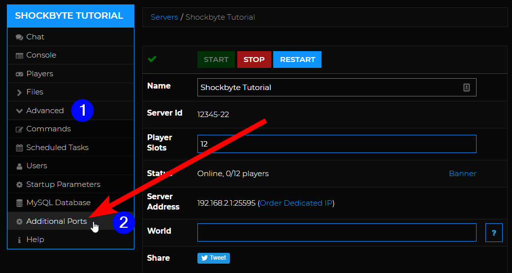 Additional Ports - navigate to Additional ports page