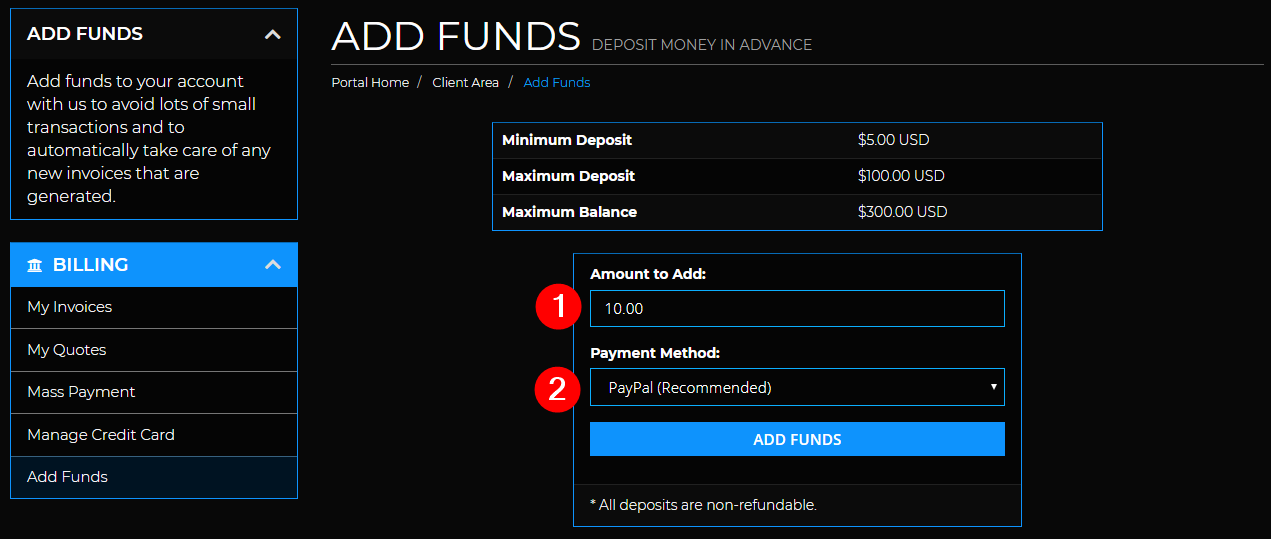 Add Funds - fill out add funds order