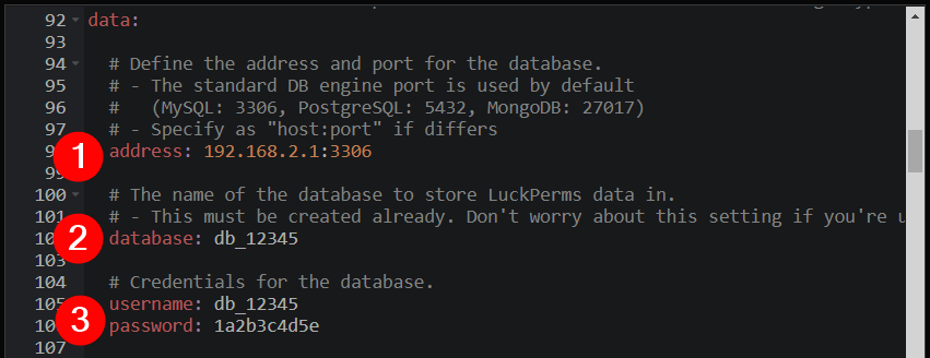 MySQL Luckperms - enter details into config