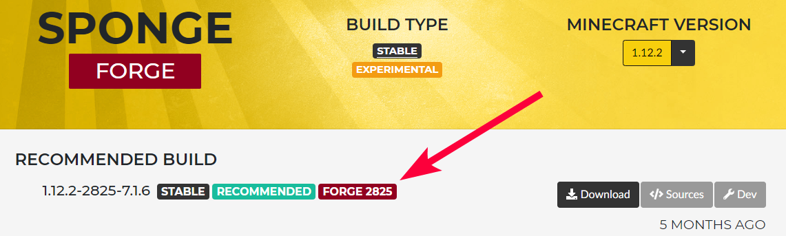 SpongeForge - Recommended forge version