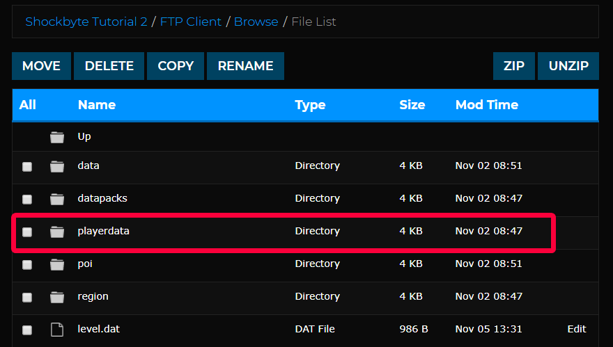 Playerdata folder