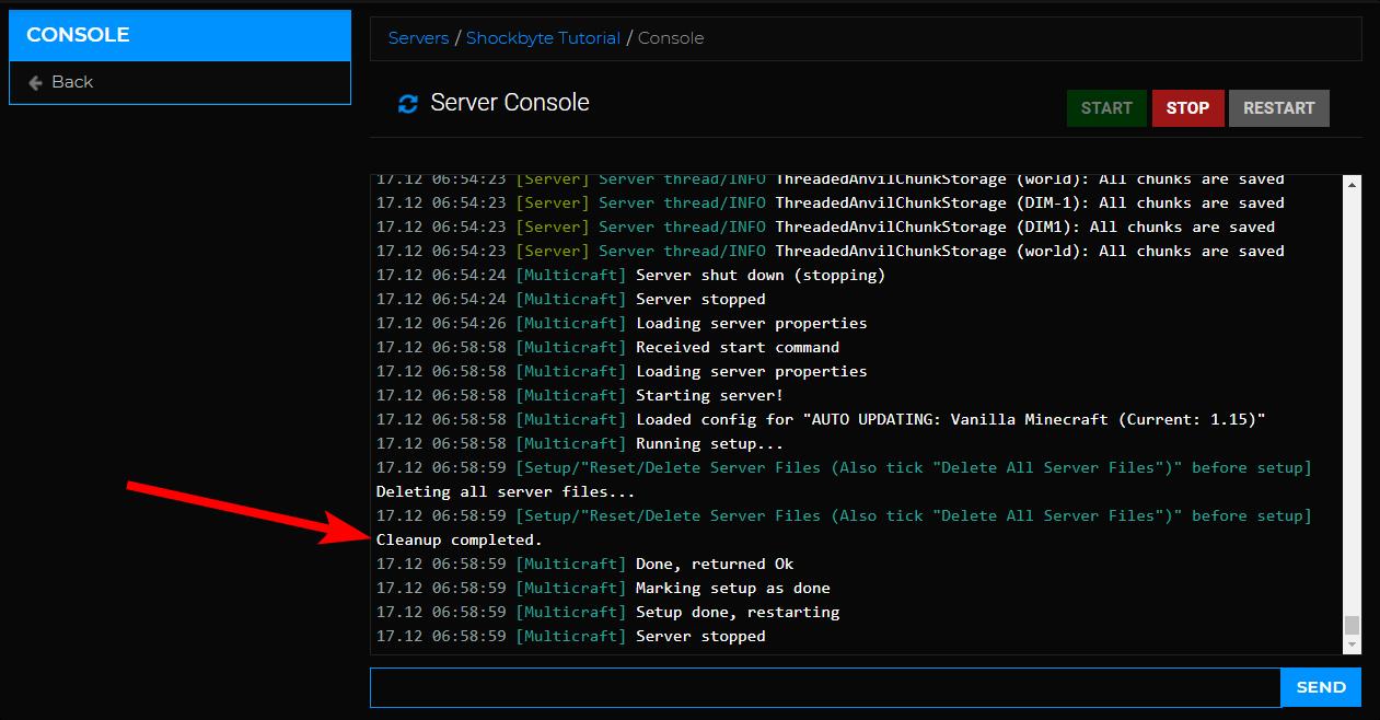 Server Reset - Reset complete