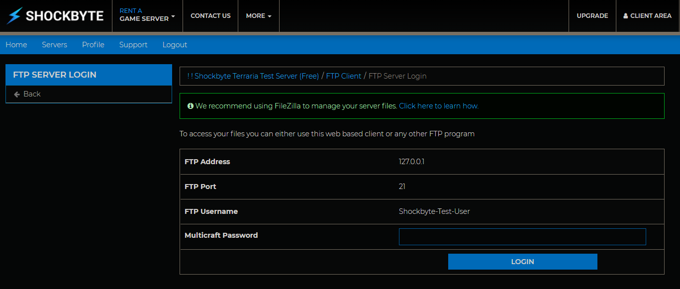 FTP Server Login
