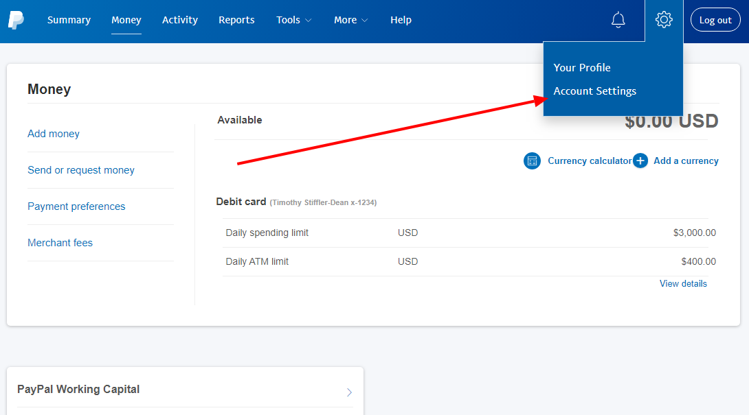PayPal Business Account Settings
