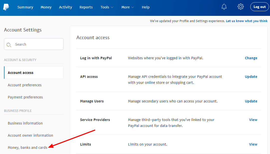 PayPal Business Money Banks and Cards