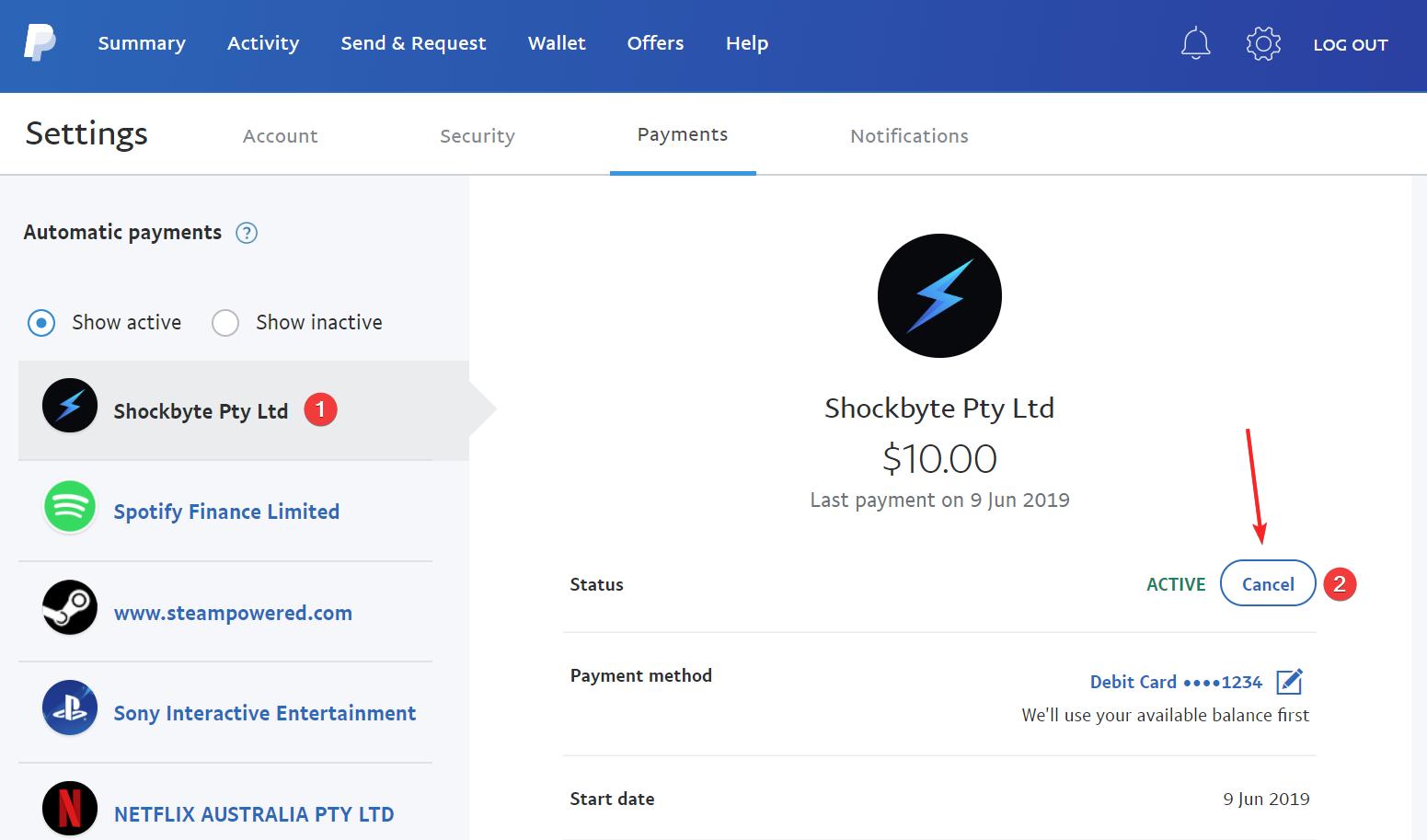 PayPal Cancel Shockbyte Susbcription