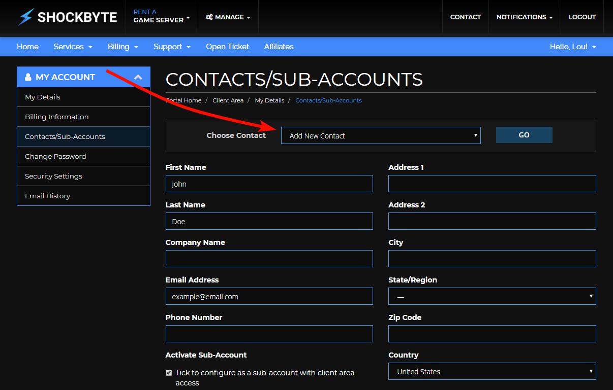Shockbyte Add New Contact